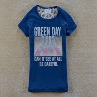 2014 spring women's cartoon love letter 100% cotton o-neck short-sleeve T-shirt 4 colors SZB-1018