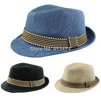2014 Kids boy hats Fedora Hat Children chapeu panama hat Baby sunhat baby Pure Color Jazz cap summer dance vintage cowboy bones