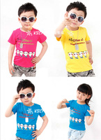 Free Shipping New 2014 baby t shirts,girls boys'short sleeve printed colorful cotton t-shirts