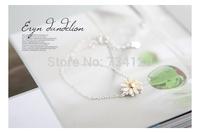 SB004 Mix wholesale.order $10 Free Shipping 925 silver Korean jewelry popular lovely yellow daisy flower Bracelet Woman fashion
