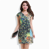 2014 New Fashion peacock Dress Bohemian Spring And Summer Dress Plus Size print dresses Girl New Brand Casual Dress