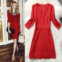 Free shipping 2014 New Europe and America Women's Fashion OL Slim Metal Belt Pencil Dress Spring And Summer plus size S-L