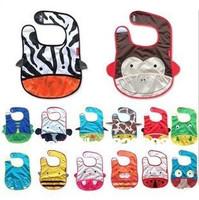 5pcs/lot Mixed Sales Arrival Waterproof Fabric Cartoon Baby Pinny Zoo Animal Pattern Print Baby Bibs Burp Cloths Free Shipping