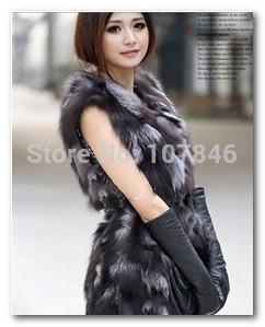 Осень леди подлинная естественная настоящее лисий мех жилет жилет зима женщины мех верхняя одежда пальто куртка VK1455