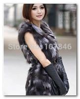 Autumn Lady Fashion Genuine Natural Real Fox Fur Vest Waistcoat Winter Women Fur Gilet Outerwear Coats Jacket VK1455