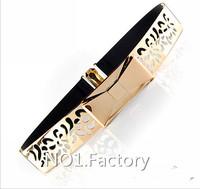 2014 New fashion 4.5CM Wide gold Metal Sequins Waist Belts ladies'  Decorative Metal Mirror Sequins Elastic Belt for women