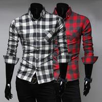 Free Shipping 2014 New Plaid Shirt Men,Casual Slim Fit Stylish Shirts Men's Fashion Cotton Shirt Color;Black&Red M-XXL