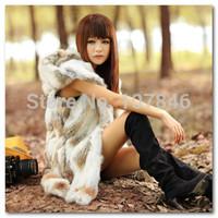 Autumn Ladies Genuine Real Spliced Rabbit Fur Vests Waistcoat with Hoody Winter Women Fur Gilet Outerwear Coats VK1454