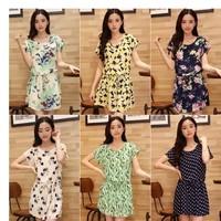 Female 2014 chiffon one-piece dress short-sleeve print  dress casual loose plus size clothing skirt