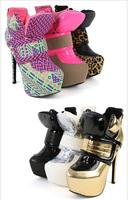 Ladygaga plus size female short footwear boots sports type ultra high thin heels neon leopard print