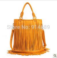 2014 new female bag hand shoulder bag diagonal casual wave of big bag PU tassel