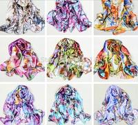 10pcs  160*50cm Fashion Satin Oil Painting Long Wrap Shawl Beach Scarves Flower Scarf