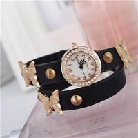 Special Offer! Promotion Latest Trends In Fashion Woman Hawaiian Bracelet Rhinestone Butterfly Long Leather Quartz Watch