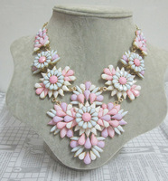 Free shipping Fashion Women Spring Summer new candy pink&blue multi acrylic layers flower statement exaggerated chokers necklace