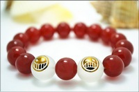 New One piece bracelet Athy ace happy and sad face Red and black agate bracelet with crystal Anime peripheral accessories