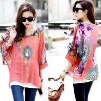 Big Promotional High Quality Chiffon Shirts For Ladies Batwing Sleeve Plus Size Floral Blouses 5XL Ultra Large Size Chiffon Tops
