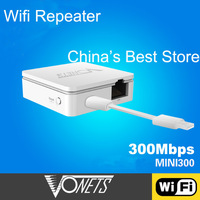 Hot sales ! Vonets 300Mbps Wireless-N Wifi Repeater 802.11N/B/G Network Router Range Expander 300M Free shipping + Drop Shipping