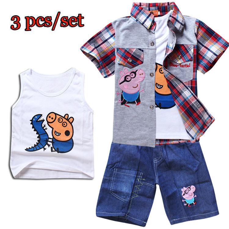 Retail 2014 Peppa Pig Clothing Set boys girls summer cartoon clothes children's 3 pcs set Vest+Shirt+Denim shorts casual wear(China (Mainland))