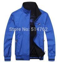 wholesale 2014 spring new men's sports jacket men Brand Double-sided wear waterproof & outerwear Big size L-5XL