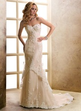 Sexy Court Train Sweetheart Champagne Tulle 2014 Lace Wedding Dresses Bridal Gowns Custom Made(China (Mainland))