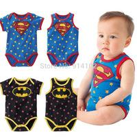 2014 Summer Newborn sleeveless Superman&Batman Overall Cotton Baby boys Romper Cartoon Jumpsuits clothes