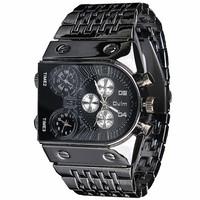 2014new Fashion brand OULM 9315 men luxury man military sports wrist watch Three quartz timepieces black Steel Band Wristwatches
