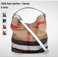 100% Real Leather + Canvas Bags Plaid Casuel Bag Women Handbag Totes Shoulder bag European and American Free Shipping