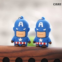 Free shipping! Cartoon Hero Pen Drive Captain America USB Flash Drive Memory Pen/Thumb Drive 64GB Cartoon pen drive