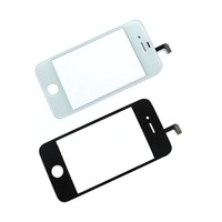 3pcs Free Shipping Black / White Front Screen with Touch Digitizer Panel for iPhone 4 4S Replacement parts with Opening Tools
