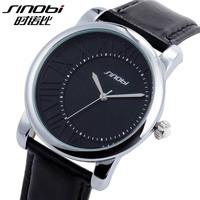 2014 new sinobi fashon quartz watch round dial Personalized clock waterproof leather strap mens women dress sports watches