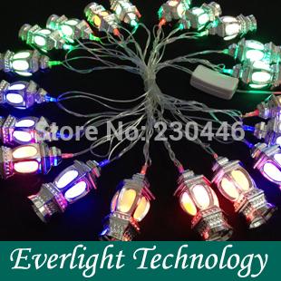 110V~ 220V Silver lanterns fiber RGB Led String Halloween Lights 4m/20leds for Holiday/Party/Home Decoration(China (Mainland))