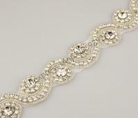 free shipping 1 yard 3.3cm wave-shape clear crystal rhinestone applique silver hotfix for weddingdress waist shoulder decoration