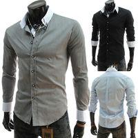 Size M-XXL Fashion Men's Contrasting Turn-down Collar Cotton Patchwork Slim Long Sleeve Casual Shirts Free Shipping LJM014
