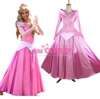 Childhood Memory Soft Satin Pink Princess Sleeping Beauty Dress Cosplay Costume