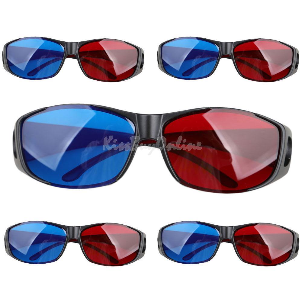 5Pcs One Set Red Blue Anaglyph Framed 3D Vision Glasses for Plasma TV 3D Movie DVD K5BO(China (Mainland))