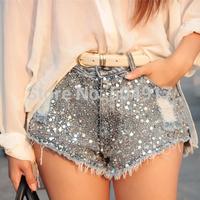 European stations 2014 Summer Autumn Sequins Full sequin Slim Thin Hole Cowboy Shorts denim