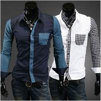 Size M-XXL Fashion Men's Turn-down Collar Cotton Slim Long Sleeve Single Breasted Plaid Casual Shirts Free Shipping LJM020