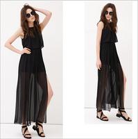 2014 New Fashion Women Summer Casual Dresses Chiffon A-line O-Neck  Empire Floor-Length Sleeveless Women Dresses