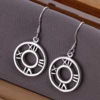 Free Shipping!!Wholesale 925 Silver Earring Fashion Sterling Silver Jewelry,Round Roman  Earrings SMTE041
