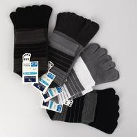 2014 Hot Sale Wholesale Stripe Men's Cotton Five Fingers Toe Socks 5 fingers socks Stockings 16pieces=8 Pairs/lot Free Shipping
