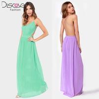 New 2014 Fashion Summer Dress  Back Cross Spaghetti Strap Perspectivity Invisible Zipper Long Chiffon Women Dress In Stock