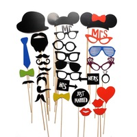 31PCS New DIY Masks Photo Booth Props Mustache On A Stick Wedding Birthday Party