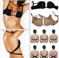 2014 Super Sexy Cross Halter-Neck Seamless Underwear Invisible Women Push Up Bra
