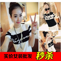 2014 summer brief fashion color block letter decoration knitted casual short-sleeve t female T-Shirts