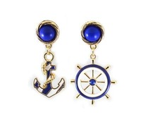 YX610   2014 new fashion Navy blue anchor wind earring  for women
