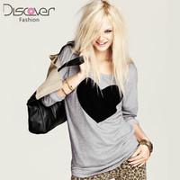 New 2014 Fashion Summer Tees Heart Pattern Grey O Neck Top Sweatshirt Long-Sleeve T-shirt Casual Shirt Women Shirt In Stock
