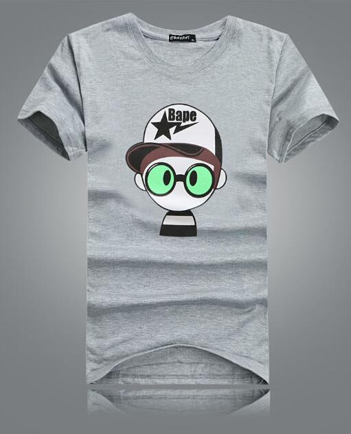 Ropa para hombre t- shirt 2014 100% macho de algodón o de- suéter de cuello; chico de dibujos animados con el sombrero