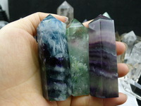 wholesale multicolored crystal rock stone prism/clear natural fluorite raw stone point for decoration/gifts/fengshui products