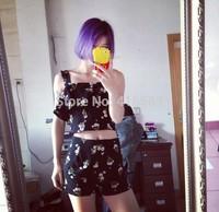 kawaii flower print short design camis ruffles top and high waist chiffon shorts two pieces sets