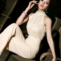 new spring and summer 2014 big manual  beading lace patchwork pearl neckline wide-legged dress pants jumpsuit